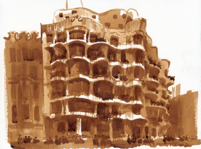 Barcelona. Casa Mila. Paper, brown ink, brush. 2013