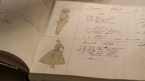 "In the archives, the ""book of collection"" from the 1947 New Look collection describes how the garments were made. Credit: CIM Productions"