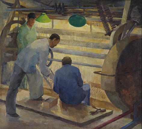 O. Kolmakova. At the factory. 1920-30's Canvas, oil 115x128.