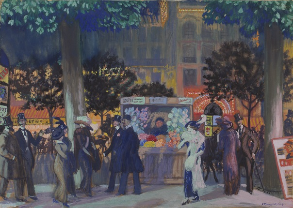 B.M. Kustodiev. Paris Boulevard at night. 1913. Perm State Art Gallery