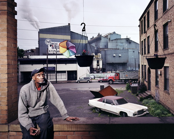 My neighbour Joe with our view of the Edgar Thomson Steel Mill, 2012