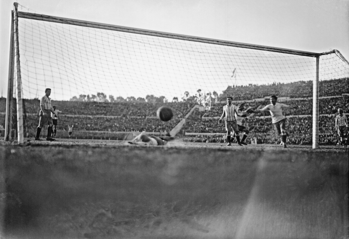 Fourth Uruguayan goal, scored by Héctor Castro right before the very end of the final game between Uruguay and Argentina. First Football World Cup. Centenario Stadium. July 30th, 1930. Image: