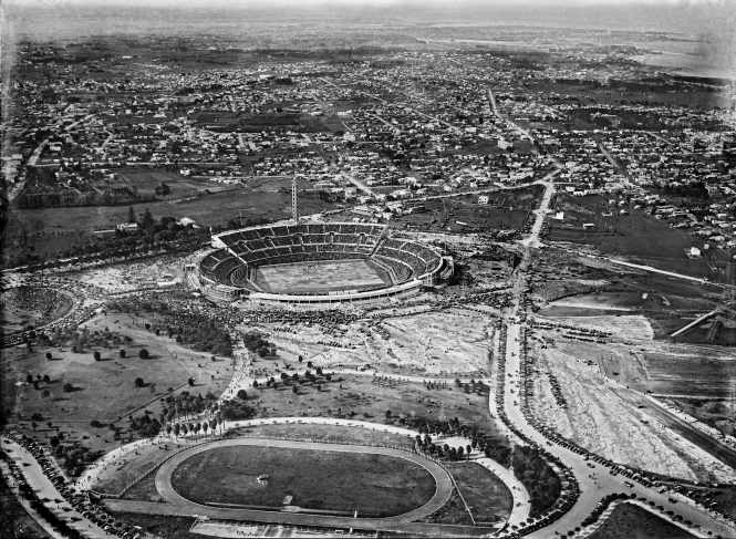 Aerial view of the Centenario Stadium and its surroundings, the day of the final of the first Football World Cup. July 30th, 1930.