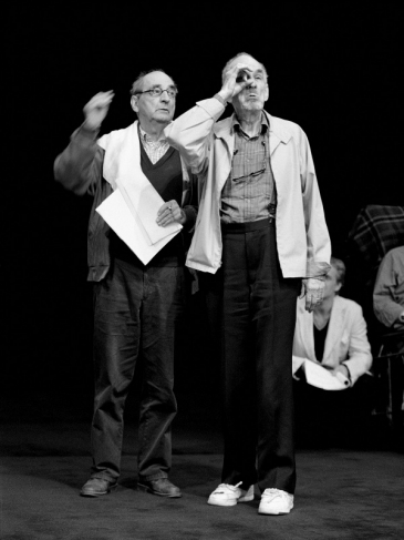 Bergman give instructions to actor Nils Eklund during rehearsal of Strindberg´s Ghost Sonata. Royal Dramatic Theatre, Stockholm. 2000