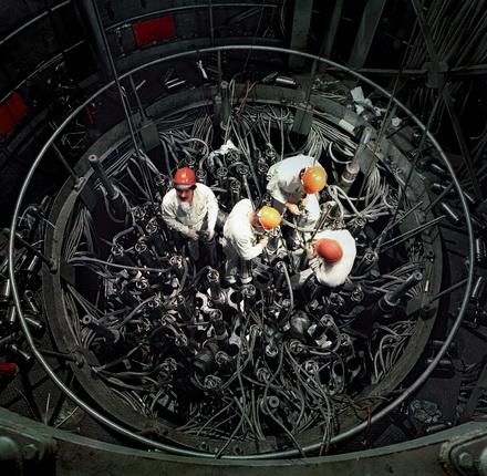Евгений Фадин. Калининская АЭС. Верхний блок реактора №1. 1986. Цифровая печать