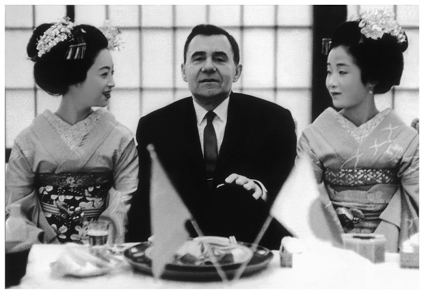 USSR Foreign Minister Andrei Gromyko with geishas at the first visit to Japan at the invitation of the government, 1962