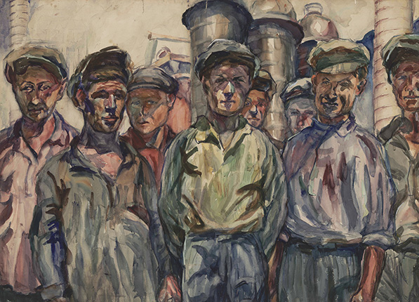 A. V. Lentulov. Workers of the Kerch Metallurgical Plant. 1930. Paper, watercolor