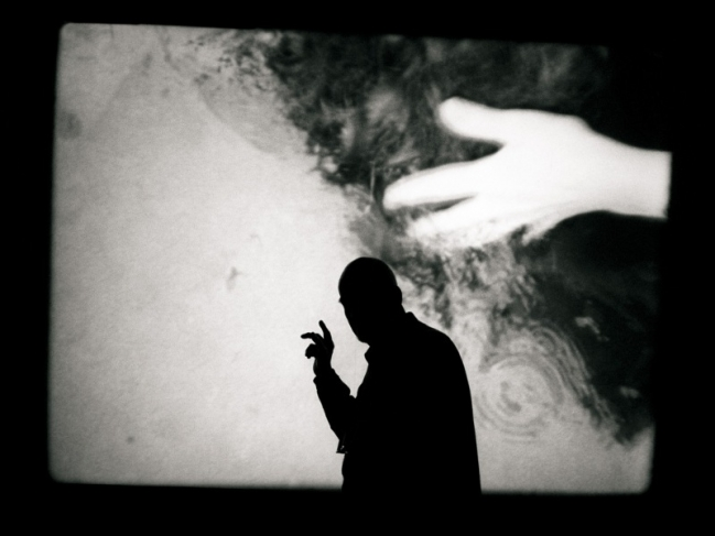 "Bergman inspecting a back projection screen at the Royal Dramatic Theatre, Stockholm for his play ""The Images Makers"".1998"