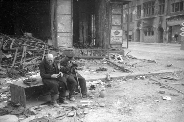 """Why the war?"" Blind with the guide. Berlin. 1945"
